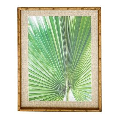 Chavez Bamboo Framed Wall Art Print, Fan Palm Leaf #1, 74cm