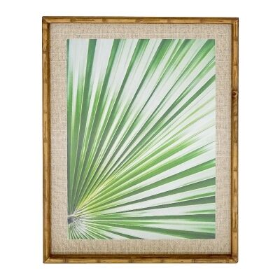 Chavez Bamboo Framed Wall Art Print, Fan Palm Leaf #2, 74cm