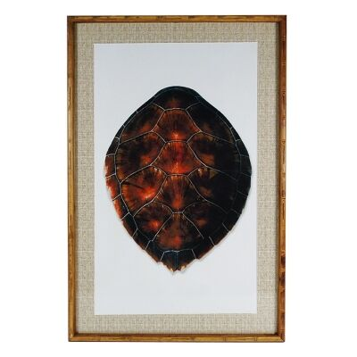 Chavez Bamboo Framed Wall Art Print, Turtle Shell, 90cm
