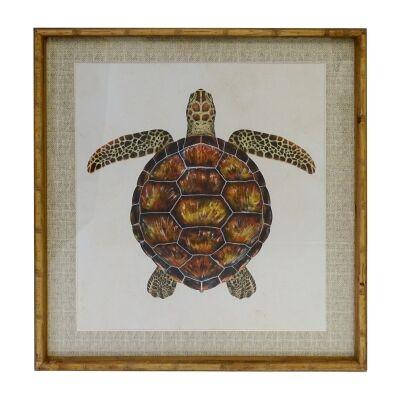 Chavez Bamboo Framed Wall Art Print, Reef Turtle, 70cm