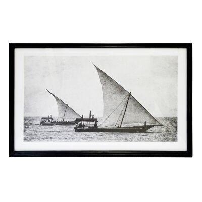 Zanzibar Framed Wall Art Print, Sailing 90cm
