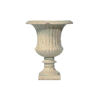 Alecta Cast Iron Garden Urn, Small, Antique White