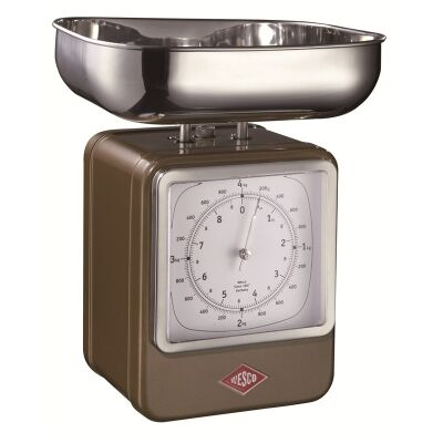 Wesco Stainless Steel Retro Scale with Clock - Chocolate