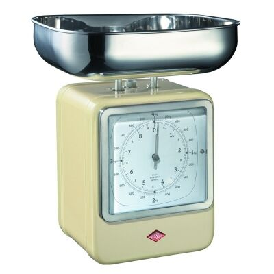 Wesco Stainless Steel Retro Scale with Clock - Almond