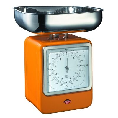 Wesco Stainless Steel Retro Scale with Clock - Orange