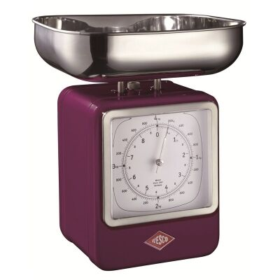 Wesco Stainless Steel Retro Scale with Clock - Lilac