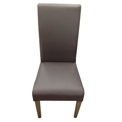 Alberta Top Grain Leather Dining Chair, Brown / French Grey