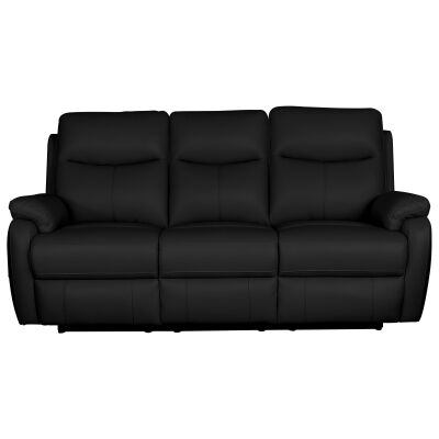 Colson Leather 3 Seater Recliner Sofa, Black