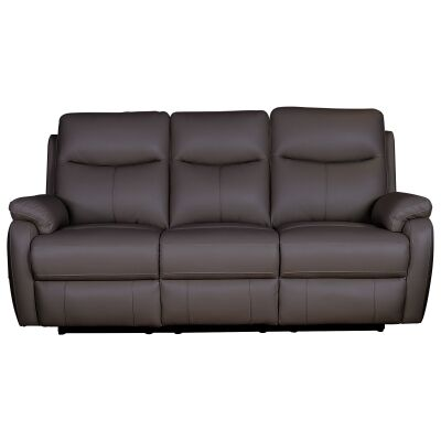 Colson Leather 3 Seater Recliner Sofa, Brown