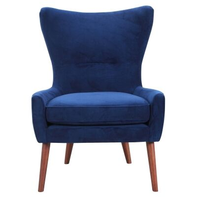Edythe Fabric Wing Back Lounge Chair, Navy