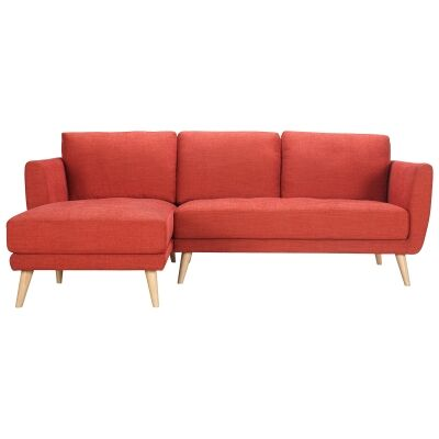 Artarmon Fabric Corner Sofa, 2 Seater with Left Hand Facing Chaise, Paprika
