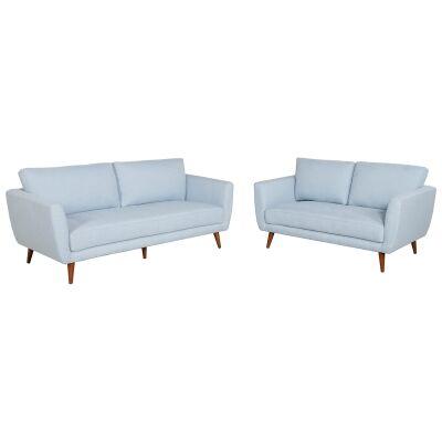 Artarmon 2 Piece Fabric Sofa Set, 3+2 Seater, Pale Blue
