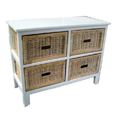 Umina Mango Wood Timber 4 Cane Rattan Baskets Sideboard - White/Natural