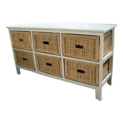 Umina 6 Cane Drawer Mango Wood Wide Cabinet