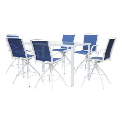 Flonatt 7 Piece Outdoor Metal Bar Table Set, 160cm