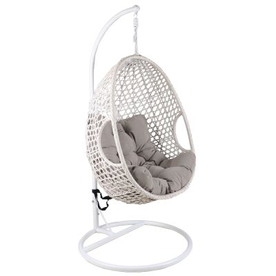 Hakim Wicker Hanging Pod Chair, White