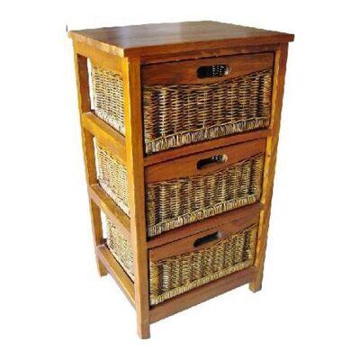 Berala 3 Cane Drawer Mango Wood Cabinet