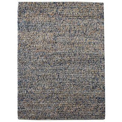 Dormark Handwoven Textured Wool & Hemp Rug, 160x230cm, Blue / Natural