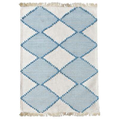 Flona Handwoven Textured Cotton Rug, 160x230cm, Aqua