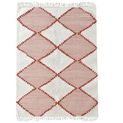 Flona Handwoven Textured Cotton Rug, 190x290cm, Terracotta