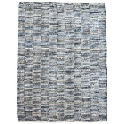 Meles Handwoven Hemp & Cotton Rug, 160x230cm, Blue / Natural