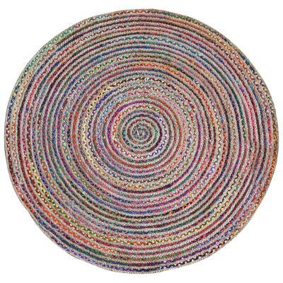 Jemond Handmade Hemp & Fabric Round Rug, 150cm