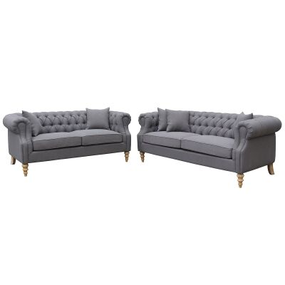Lithia 3+2 Seater Fabric Chesterfield Sofa Set