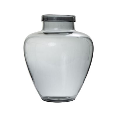 Casa Glass Vase, Small, Smoky Grey
