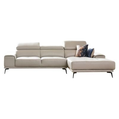 Avezzano Leather Corner Sofa, 2 Seater with RHF Chaise, Silver