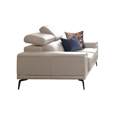 Avezzano Leather Sofa, 2 Seater, Silver