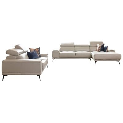 Avezzano Leather Sofa Set, 2 Seater with RHF Chaise + 2 Seater, Silver