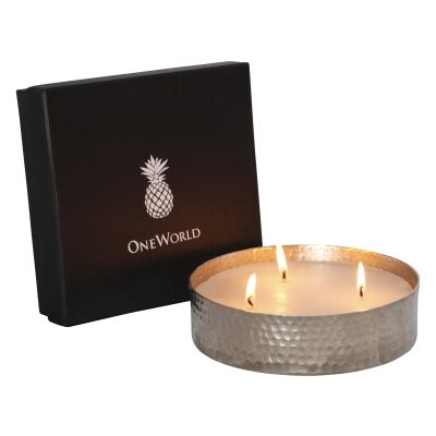 Ames Triple Wick Candle, Sandalwood Scense, Silver
