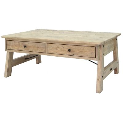 Valletta Reclaimed Timber 2 Drawer Coffee Table, 127cm