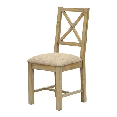 Valletta Reclaimed Timber Dining Chair, Cushion Seat