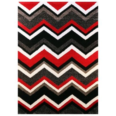 Valens Chevron Modern Rug, 200x290cm, Red / Black