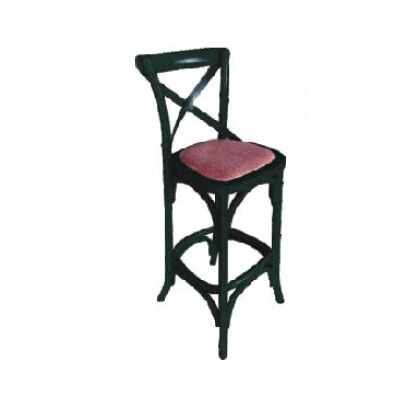 Sherwood Solid Oak Timber Cross Back Bar Chair with Rattan Seat, Distressed Black