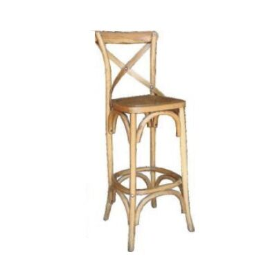 Sherwood Solid Oak Timber Cross Back Bar Chair with Rattan Seat, Distressed Natural