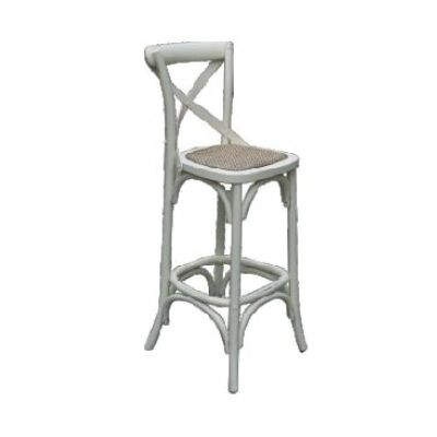 Sherwood Solid Oak Timber Cross Back Bar Chair with Rattan Seat, Distressed White