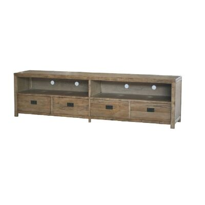Sherwood Solid Oak Timber 4 Drawer 220cm TV Unit