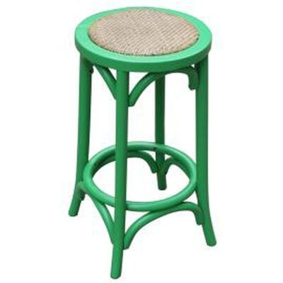 Sherwood Solid Oak Timber Counter Stool with Rattan Seat, Distressed Green