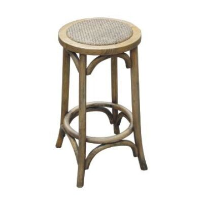 Sherwood Solid Oak Timber Kitchen Stool with Rattan Seat - Distressed Natural
