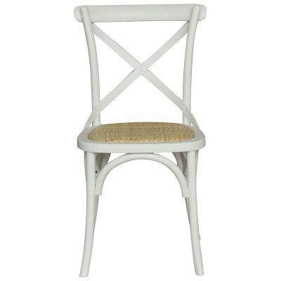 Sherwood Oak Timber Cross Back Dining Chair, Rattan Seat, Vivid White