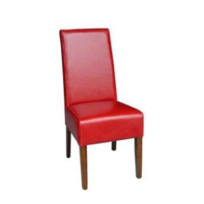 Aars PU Leather Dining Chair with Light Honey Legs - Red