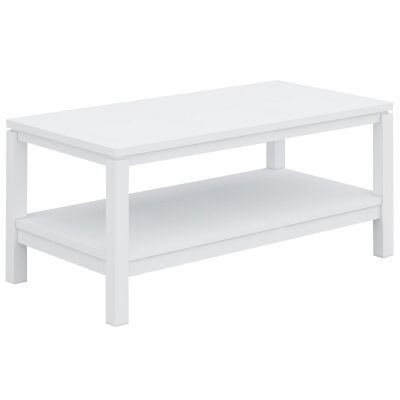 Braque Solid Rubberwood Timber Coffee Table, 96cm, White