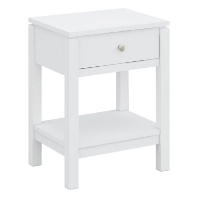 Braque Solid Rubberwood Timber Bedside Table, White