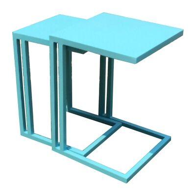 Cleton 2 Piece Aluminum Nesting Table Set, Blue