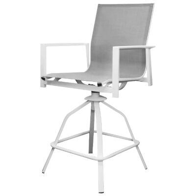Costa Swivel Bar Chair, White / Grey