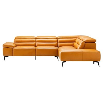 Casape Leather Corner Sofa, 3 Seater with Right Hand Facing Terminal, Tangerine