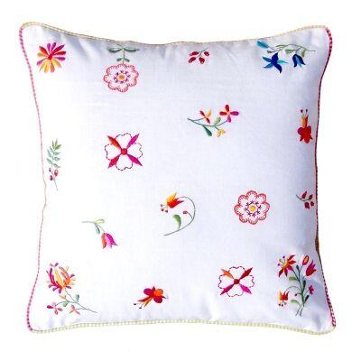 Saavi Embroidery Cotton Cushion - White