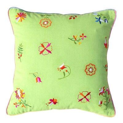 Saavi Embroidery Cotton Cushion - Green